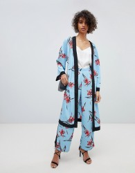 Neon Rose Wide Leg Trousers In Floral Co-Ord - Blue