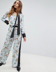 Neon Rose wide leg trousers in mixed print - Black