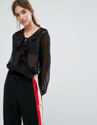 Neon Rose Wrap Front Body In Chiffon With Ruffle And Tie Cuffs - Black