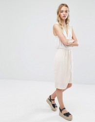 Neon Rose Wrap Front Skirt - Beige