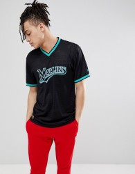 New Era Florida Marlins Mesh T-Shirt In Black - Black