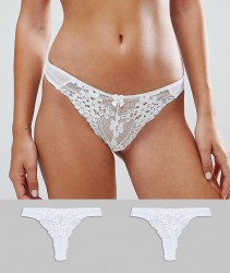 New Look 2 Pack Daisy Lace Thong - White