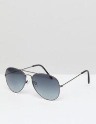 New Look Aviator Sunglasses In Black - Black