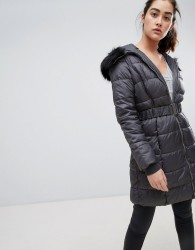 New Look belted quilted jacket - Grey