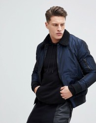 New Look Bomber Jacket With Borg Collar In Navy - Navy