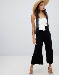 New Look Colourblock Bow Front Jumpsuit - Black