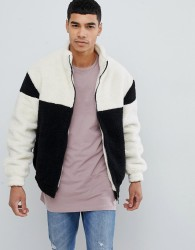 New Look colourblock jacket with funnel neck in black - Black