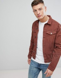 New Look Denim Jacket In Burgundy - Red