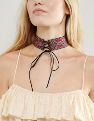 New Look Embroidered Tie Choker Necklace - Multi