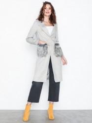 New Look Faux Fur Pocket Longline Coat Frakker