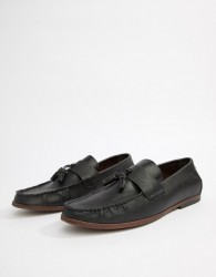 New Look Faux Leather Loafers With Tassels In Black - Black