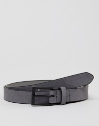 New Look Faux Suede Belt With Matte Buckle In Grey - Grey