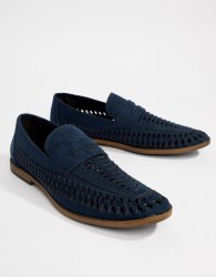 New Look Faux Suede Loafers In Navy - Navy