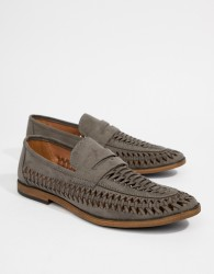 New Look Faux Suede Woven Loafers In Light Grey - Grey