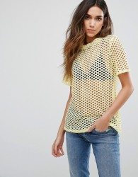 New Look Fishnet Boyfriend Tee - Yellow