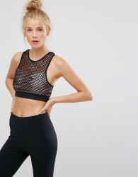 New Look Fishnet Crop Top - Black