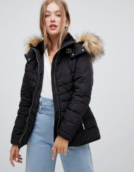 New Look Fitted Padded Parka Jacket - Black