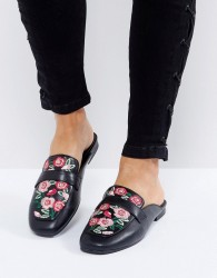 New Look Floral Embroidered Loafer Mule - Black