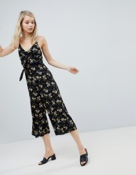 New Look Floral Tie Front Jumpsuit - Black
