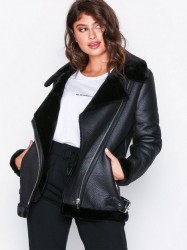 New Look Fur Lined Aviator Jacket Faux Fur Black