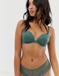 New Look geo lace cheeky short knicker in dark khaki - Green