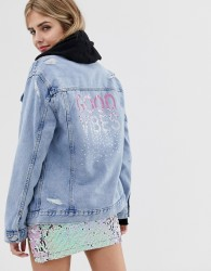 New Look good vibes denim jacket - Blue