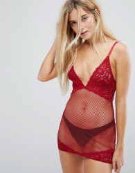 New Look Lace Suspender Slip - Red