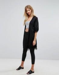 New Look Lace Trim Ladder Kimono - Black
