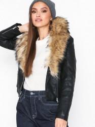 New Look Leather-Look Faux Fur Collar Jacket Læderjakker Black
