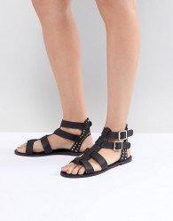 New Look Leather Look Gladiator Flat Sandal - Black