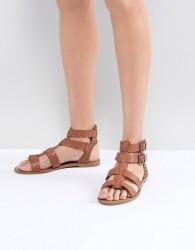 New Look Leather Look Gladiator Flat Sandal - Tan