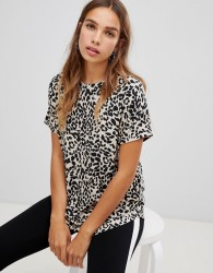 New Look Leopard Print Tee - Brown