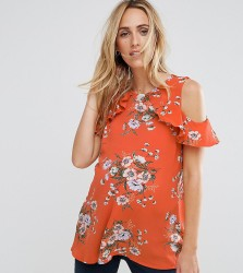 New Look Maternity Cold Shoulder Frill Shell Top - Orange