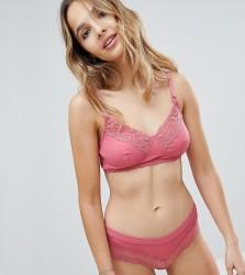 New Look Maternity Fine Rib & Lace Bra - Pink