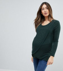 New Look Maternity Nursing Long Sleeve Wrap Top - Green