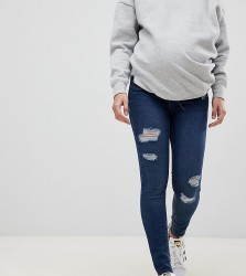 New Look Maternity Over Bump Rip Skinny Jeans - Navy