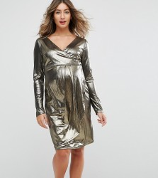 New Look Maternity Shimmer Wrap Dress - Gold