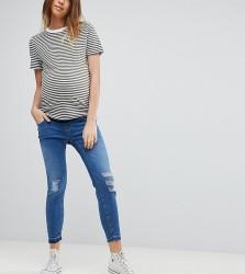 New Look Maternity Under Bump Drop Down Hem Jeans - Blue