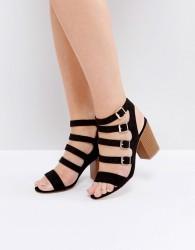 New Look Multi Buckle Detail Heeled Sandal - Black