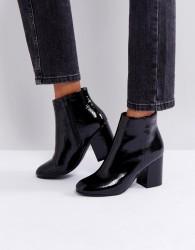 New Look Patent Round Toe Heeled Boot - Black