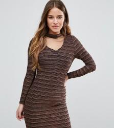 New Look Petite Metallic Backless Bodycon Dress - Black