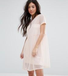 New Look Petite Smock Mesh Dress - Pink