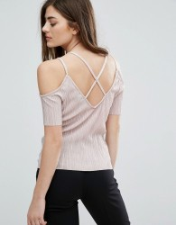 New Look Plisse Exposed Shoulder Top - Pink