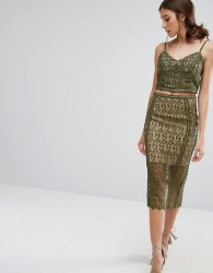 New Look Premium Lace Pencil Skirt - Green