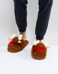 New Look Reindeer Slippers In Brown - Brown