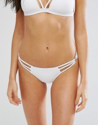 New Look Ring Detail Hipster Bikini Bottom - White
