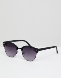 New Look round sunglasses with metal frame in black - Black