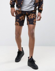 New Look Shorts With Floral Print In Black - Black