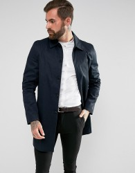 New Look Single Breasted Cotton Mac In Navy - Navy