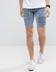 New Look Skinny Denim Shorts With Rips In Acid Wash - Blue